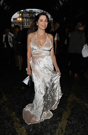 Sadie Frost dazzled everyone during London Fashion Week in a shimmering silver halter dress.