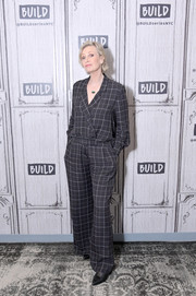 Jane Lynch donned a grid-print tuxedo jumpsuit for her visit to Build.