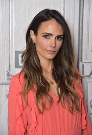 Jordana Brewster showed off a sexy wavy 'do while visiting Build.