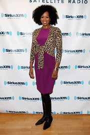 Kim Wayans looked great wearing a purple silk dress at the SiriusXM Studio.