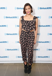 Paula Patton kept it breezy in a tiered floral crop-top while visiting SiriusXM.