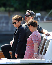 Ola Rapace wore sporty Prada wrap around sunglasses to attend the 67th Venice Film Festival.