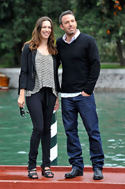 Actor Ben Affleck wore a pair of Walker relaxed straight leg jeans in Boone while promoting 'The Town' at the 67th Venice Film Festival.