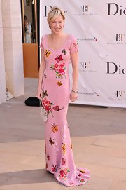 Julie Macklowe looked ready for spring when she sported this pale pink gown that featured flowers and butterflies.