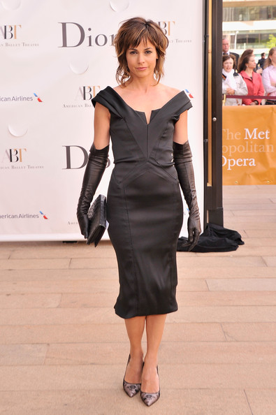Stephanie Szostak chose this retro-style off-the-shoulder LBD to pair with long black gloves at the American Ballet Spring Gala in NYC.