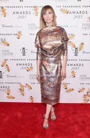 Anya Ziourova went for a futuristic feel with this metallic print dress at the Fragrance Foundation Awards.