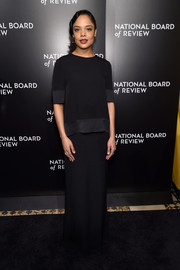 Tessa Thompson paired her blouse with a matching maxi skirt.