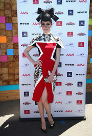 A pair of embellished black pumps echoed the geometric theme of Coco Rocha's dress.