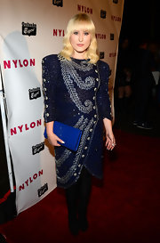 Hayley Hasselhoff chose an '80s-inspired beaded dress with high shoulder pads for her red carpet look at Nylon's Young Hollywood Issue party.