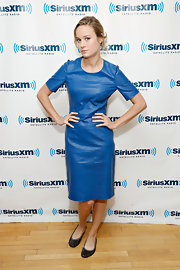 Brie showed us how to wear leather in summer with this denim-hued leather dress.