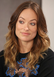 Olivia Wilde sported a boho-chic wavy center-parted 'do during her visit to the Variety Studio.