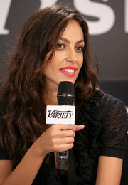 Madalina Diana Ghenea brightened up her beauty look with a lovely coral lip color during her visit to the Variety Studio.