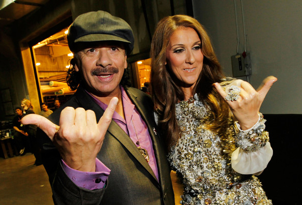 Celine Dion Statement Ring [fun,finger,event,photography,thumb,gesture,smile,costume,carlos santana,celine dion,backstage,los angeles,california,staples center,l,52nd annual grammy awards]