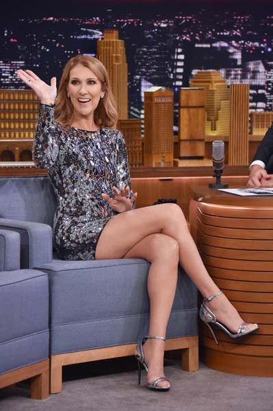 Celine Dion Beaded Dress [celine dion,the tonight show starring jimmy fallon,leg,thigh,human leg,clothing,sitting,lady,beauty,fashion,human body,long hair,new york city,rockefeller center]