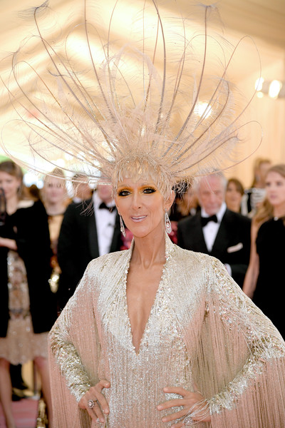 Celine Dion Headdress [hair,fashion,haute couture,dress,hairstyle,beauty,lady,blond,event,fashion model,fashion - arrivals,celine dion,notes,fashion,new york city,metropolitan museum of art,met gala celebrating camp]
