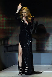 Celine rocked the stage in a sparkling black gown in Vegas.