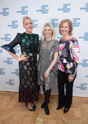 Elizabeth Banks looked breezy in a ruffled print dress at the Center for Repoductive Rights benefit.