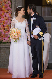 Princess Sofia was the picture of refined elegance in her wedding gown, a lace confection by Swedish designer Ida Sjöstedt.