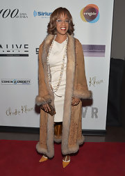 Gayle King mixed old-school glamour with hippie-chic when she sported this ankle-length, coat with embroidery detailing and fur trim.