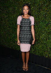 Naomie Harris accessorized with a Hunting Season NYC box clutch that echoed the pattern of her dress.