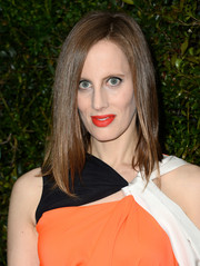 Liz Goldwyn wore her hair sleek straight with a side part during the Chanel and Charles Finch pre-Oscar dinner.