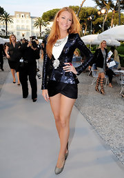 Blake sparkled at the Chanel Resort Show in a sequin saturated jacket and ultra-mini skirt.