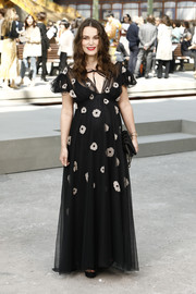 Keira Knightley looked enchanting in a black Chanel tulle gown with white flower accents during the brand's Cruise 2020 show.