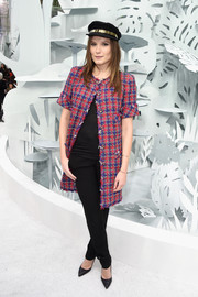 Ana Girardot attended the Chanel Couture show wearing a colorful tweed coat.