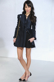 Caroline Sieber looked very polished in a pleated navy Chanel blazer during the label's fashion show.