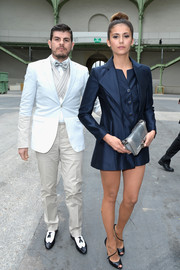 Nina Dobrev made menswear look so cute when she wore this tux-inspired blue Chanel mini during the label's fashion show.