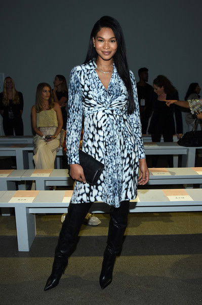 Chanel Iman Over the Knee Boots [shows,fashion model,clothing,fashion,fashion show,fashion design,footwear,street fashion,outerwear,leg,runway,elie tahari,ellie tahari,chanel iman,front row,front row,new york city,spring studios,the showsat gallery ii,new york fashion week]