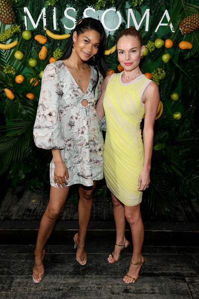 Chanel Iman Print Dress [missoma celebrates the launch of momposina,clothing,yellow,dress,cocktail dress,fashion,event,footwear,premiere,style,kate bosworth,chanel iman,missoma,momposina,nyc,launch]