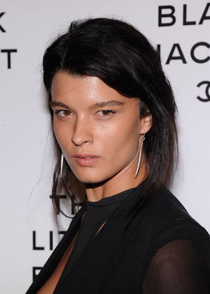 More Pics of Crystal Renn Quilted Clutch (1 of 2) - Clutches Lookbook - StyleBistro [hair,hairstyle,eyebrow,black hair,chin,beauty,lip,long hair,shoulder,brown hair,crystal renn,new york city,chanel,swiss institute,the little black jacket event]