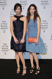 Anna Mouglalis stunned at the Little Black Jacket Exhibition Launch in an embellished drop-waist cocktail dress.