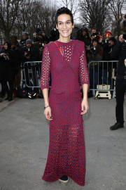 Clotilde Hesme looked mildly boho in a fuchsia tweed maxi dress during the Chanel fashion show.