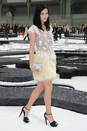 Leigh paired her fur embellished Fall 2010 dress with a patent leather Spring 2009 Couture sandal.