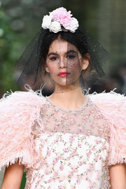 Kaia Gerber was an avant-garde bride in a flower-embellished black veil while walking the Chanel Couture Spring 2018 show.