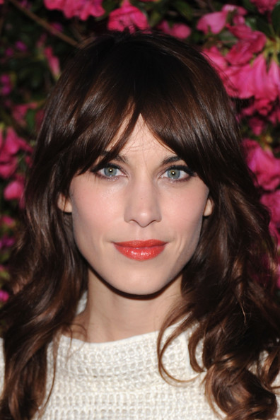 More Pics of Alexa Chung Long Wavy Cut with Bangs (1 of 4) - Long Wavy Cut with Bangs Lookbook - StyleBistro