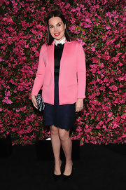 Fabiola Beracasa' hot pink blazer brightened up her navy and black dress at the Chanel Tribeca Film Festival Artists Dinner.