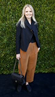 Jennifer Morrison arrived for Chanel's Women Filmmakers' Lunch wearing a loose navy biker jacket.