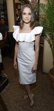 Rachael Leigh Cook cut a girly silhouette in a little white ruffle dress during Chanel's Women Filmmakers' Lunch.