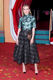 Diane Kruger donned a fitted teal jacquard blouse by Erdem for the European premiere of 'IT Chapter Two.'