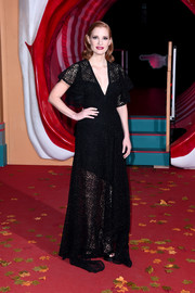 Jessica Chastain went for classic glamour in a black lace gown by Elie Saab at the European premiere of 'IT Chapter Two.'