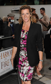 Sally Gunnell's black blazer balanced out the ultra-feminine feel of her floral dress.