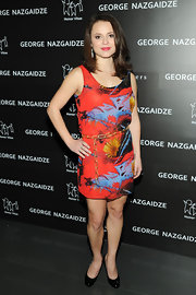 Sasha Cohen added a burst of color to the Charity Meets Fashion Holiday Celebration in this vibrant print dress.