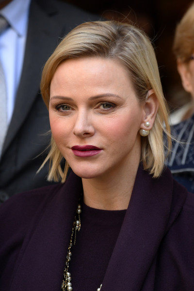Charlene Wittstock Pearl Studs [hair,face,blond,hairstyle,eyebrow,chin,lip,beauty,fashion,cheek,charlene of monaco,gifts distribution,la croix rouge,monte-carlo,monaco,christmas]