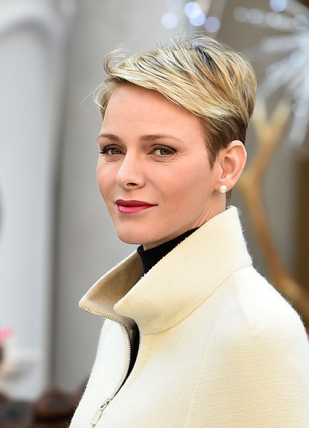 Charlene Wittstock Boy Cut [hair,face,white,hairstyle,blond,lip,beauty,eyebrow,fashion,chin,charlene of monaco,christmas gifts distribution,gifts,distribution,monaco palace,monte-carlo,christmas]