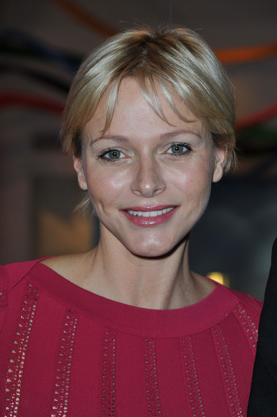 Charlene Wittstock Short Cut With Bangs [hair,face,blond,hairstyle,eyebrow,chin,beauty,lip,layered hair,bangs,members,charlene,members,cocktail,maison de monaco,england,london,i.o.c,cocktail party]