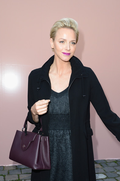 Charlene Wittstock Leather Tote [clothing,black,shoulder,outerwear,fashion,hairstyle,bag,handbag,blond,overcoat,charlene of monaco,front row,part,le carre du louvre,paris,france,louis vuitton,paris fashion week womenswear spring]