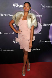 Alesha Dixon finished off her glam attire with a pair of glittery silver evening pumps.